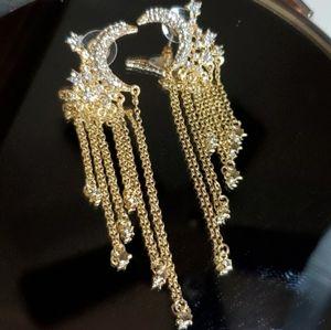 Moon and Stars Tassel Drop Earrings